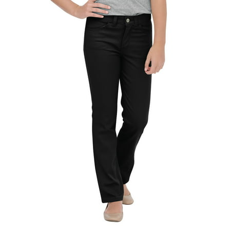 Dickies Girls School Uniform Skinny Fit Straight Leg 5-Pocket Stretch Twill Pants, Sizes 4-18