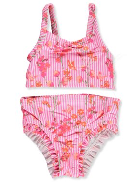 Famous Brand Baby Girls' Striped Floral-Vined 2-Piece Bikini