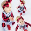 Newborn Baby Boys Girls Plaids Romper Bodysuit Jumpsuit Headband Outfit Playsuit