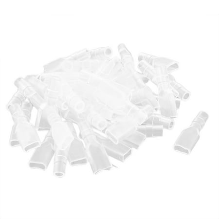 Non Insulated Spade Terminals (Unique Bargains Non Insulated 4.8mm Spade Female Terminal Connector PVC Cover Clear 50pcs )