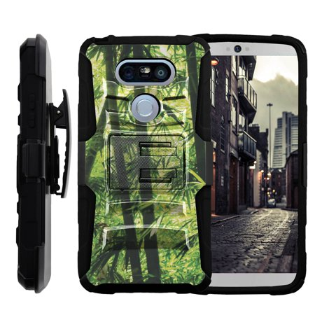 Jungle Basket - LG G5 H850 Miniturtle® Clip Armor Dual Layer Case Rugged Exterior with Built in Kickstand + Holster - Bamboo Jungle