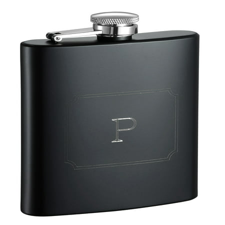 Visol  Raven Personalized Black Matte 6 ounce Flask with Initial Engraved - Letter P