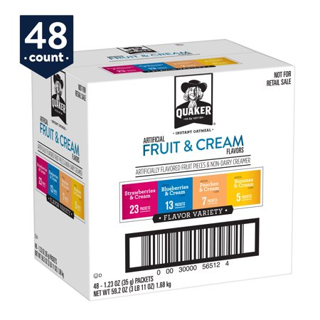 - Quaker Instant Oatmeal, Fruit & Cream Variety Pack, 48 Packets