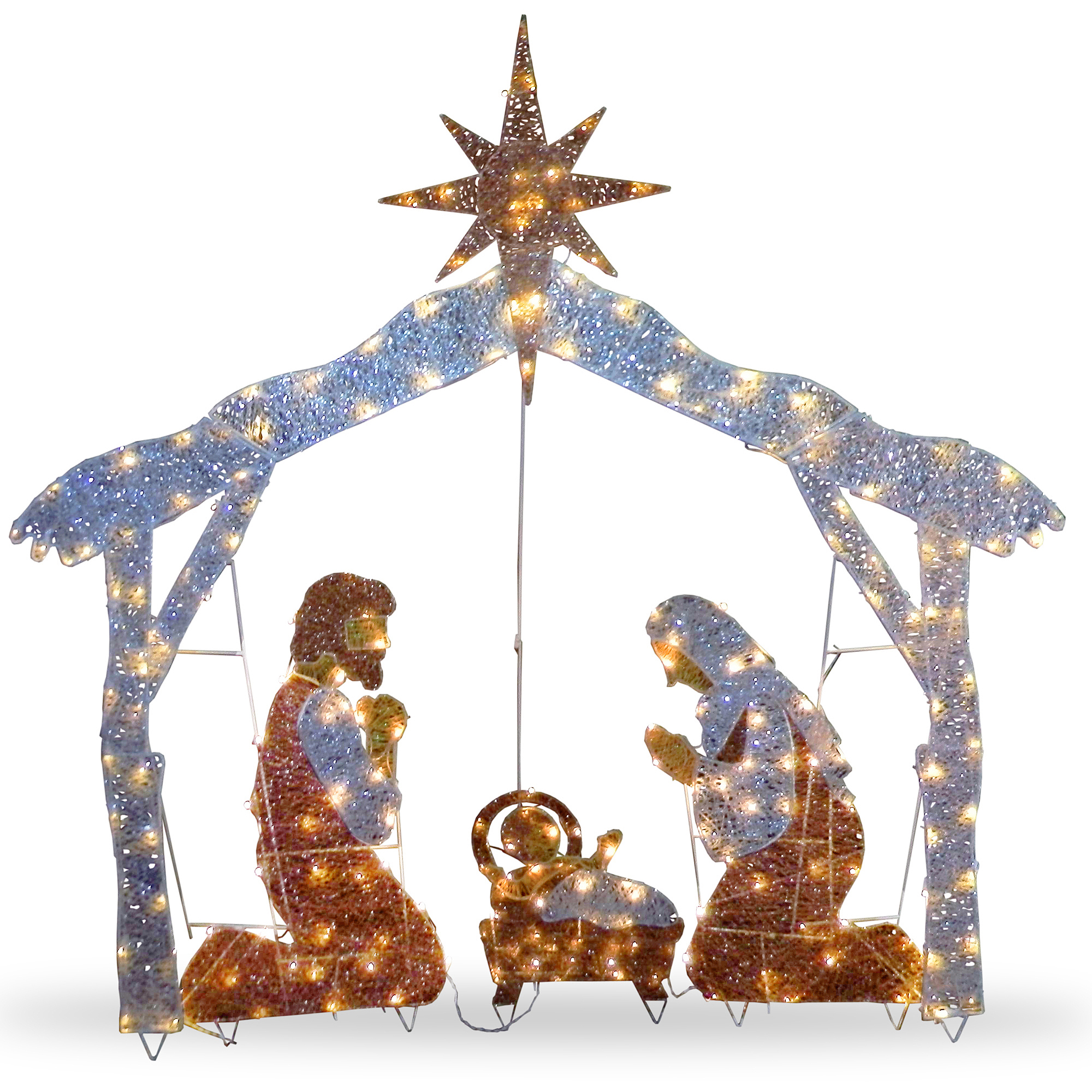 Outdoor Nativity Scenes That Light Up National tree 72 crystal nativity walmart workwithnaturefo