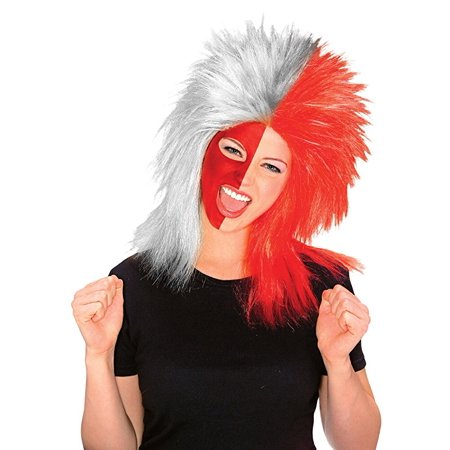 Red Ohio Scarlet Gray Grey Buckeyes Hair Sports Game Costume Wig Hair State