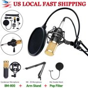 Condenser Microphone Kit Mic Set with Adjustable Mic Suspension Scissor Arm Metal Shock Mount and Double-Layer Pop Filter for Studio Recording & Broadcasting