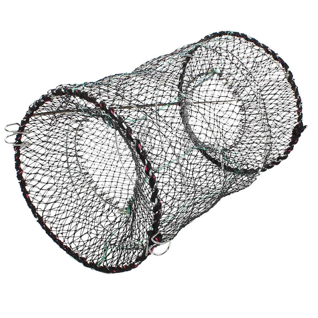 "Unique Bargains 10"" x 16"" Nylon Metal Foldable Fishing Landing Net Fish Keepnet Cage Black Green Silver Tone"