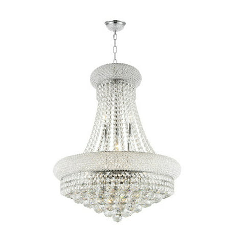 Worldwide Lighting W83030C20 Empire 14-Light 1 Tier 20u0022 Chrome Chandelier with Clear Crystals