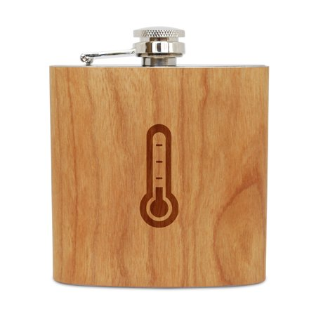 - Thermometer 6 Oz Wooden Flask (Cherry), Stainless Steel Body, Handmade In Usa