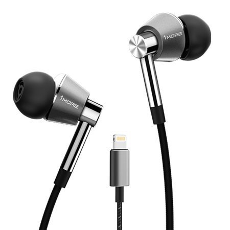 1MORE Triple Driver In-Ear Headphones (Earphones/Earbuds) with Lightning Connector for Apple iOS with Compatible Microphone and Remote (Titanium)