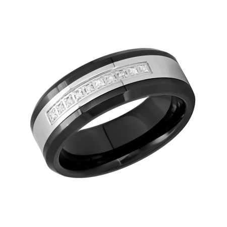 Men's Stainless Steel and Ceramic 8MM Diamond Accent Wedding Band - Mens Ring