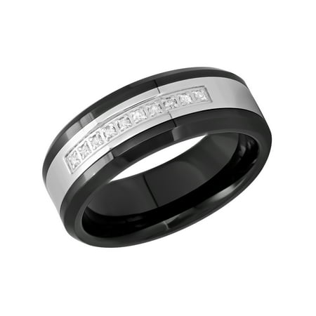 - Men's Stainless Steel and Ceramic 8MM Diamond Accent Wedding Band - Mens Ring