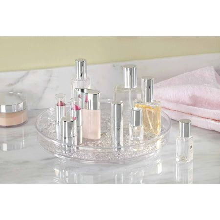 InterDesign Rain Lazy Susan Turntable Cosmetic Organizer for Vanity Cabinet to Hold Makeup, Beauty Products, Clear ()