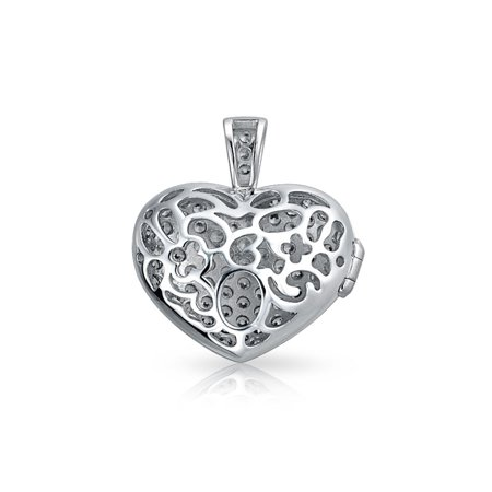 Large Pave CZ Puff Heart Shape Aromatherapy Essential Oil Perfume Diffuser Locket Pendant Necklace For Women For Teen - image 3 of 4