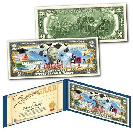 2019 HAPPY GRADUATION Genuine U.S. $2 Bill w/ Diploma Style Fill-In Certificate - Happy Halloween Ecard