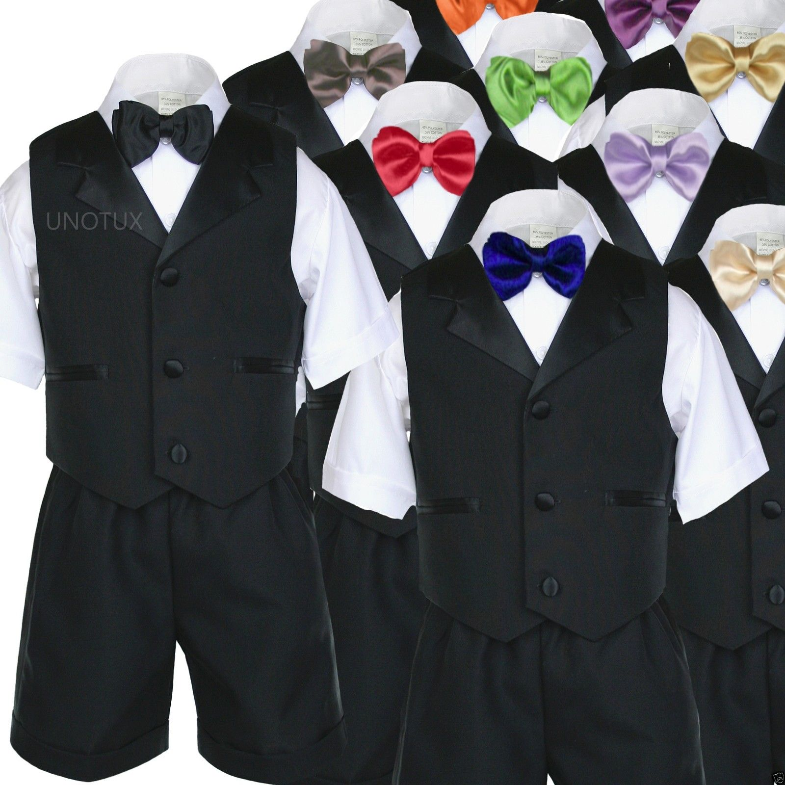 Unotux 4 Piece Formal Boy Turquoise Bow Tie Vest Set Suit 0 Month to 7 Years