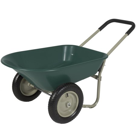 4 Wheel Garden (Best Choice Products Dual-Wheel Home Utility Yard Wheelbarrow Garden Cart w/ Built-in Stand for Lawn, Gardening, Grass, Soil, Bricks, Construction -)