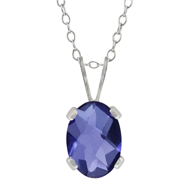 0.65 Ct Oval Checkerboard Shape Blue Iolite Sterling Silver Pendant