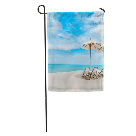 LADDKE Thai Beach Chair Umbrella Blue Sky on Tropical Coast Scene Garden Flag Decorative Flag House Banner 12x18 inch ()