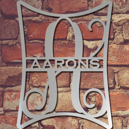 Elegance: Single Letter Metal Monogram and Family Name- Wall Décor - 16
