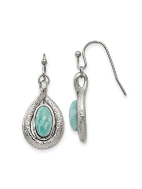 Stainless Steel Polished and Textured Dyed Synthetic Green Jade Earrings 6.32grams (L mm W mm)Polished | Textured | Stainless Steel | Dangle | Green | Synthetic stone