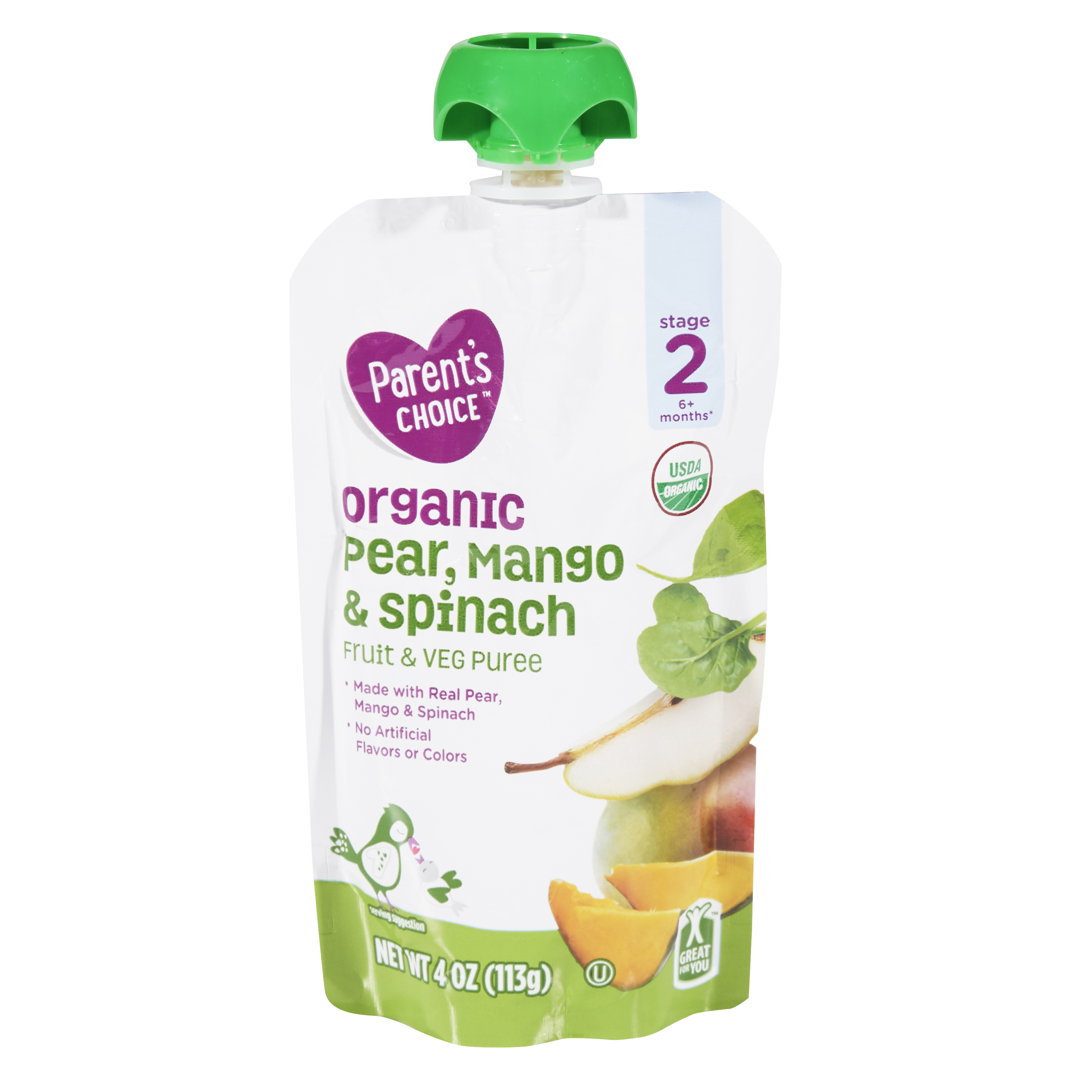 Parent's Choice Organic Pear, Mango & Spinach, Stage 2, 4 oz Pouch