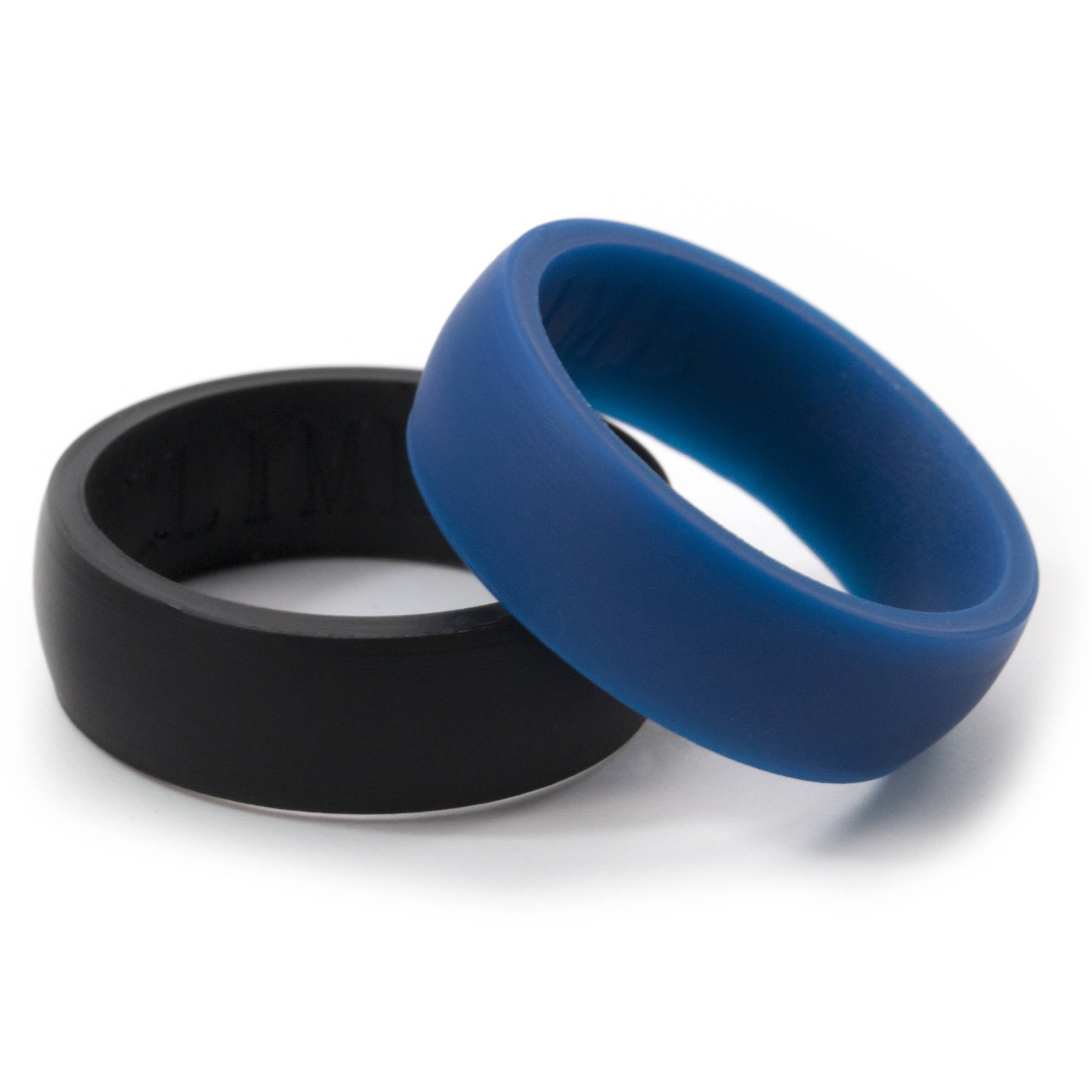 8mm HR Black and Blue Silicone Rings, 2-Pack