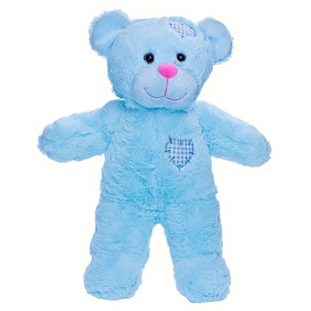 Record Your Own Plush 8 inch Blue Patches Teddy Bear - Ready 2 Love in a Few Easy Steps