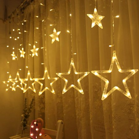 Wonder4 12 Stars 138 LED Curtain String Lights, Window Curtain Lights with 8 Flashing Modes Decoration for Christmas, Wedding, Party, Home, Patio Lawn, Warm White - Decorations Lights