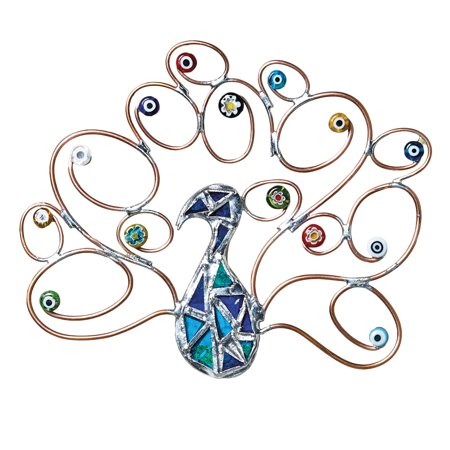 Peacock with Millefiori Wall Decor - Stained Glass Suncatcher or Wall Sculpture