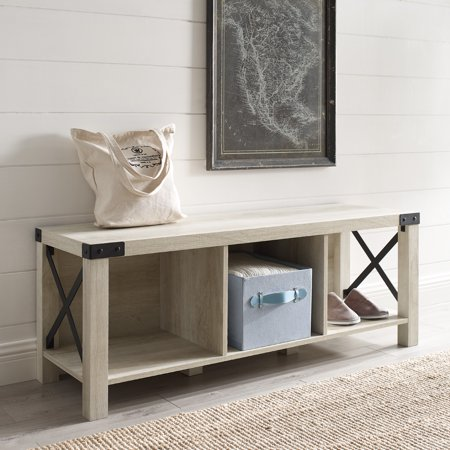 Manor Park Rustic Farmhouse Wood & Metal Entry Bench - White Oak ()