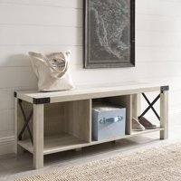 Manor Park Rustic Farmhouse Wood & Metal Entry Bench - Multiple Finishes
