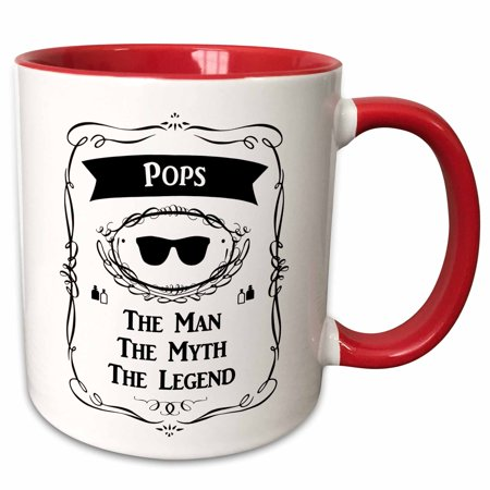 3dRose Pops The Man The Myth The Legend funny fun fathers day or other gift - Two Tone Red Mug, (Cheap Gifts For Father's Day)