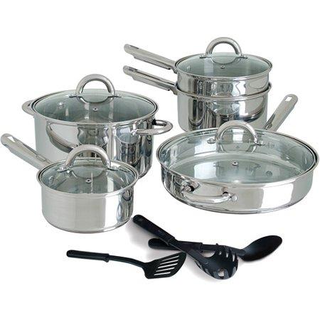 Gibson home abruzzo 12 piece cookware set stainless steel for Abruzzo 12 piece cookware set from cuisine select