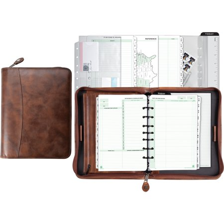 Day-Timer, DTM80844, Aviator Leather Zip Organizer Starter Set, 1 Each,