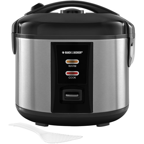 BLACK+DECKER 12-Cup Locking Lid Rice Cooker with Steamer Basket, Stainless Steel, RC1412S