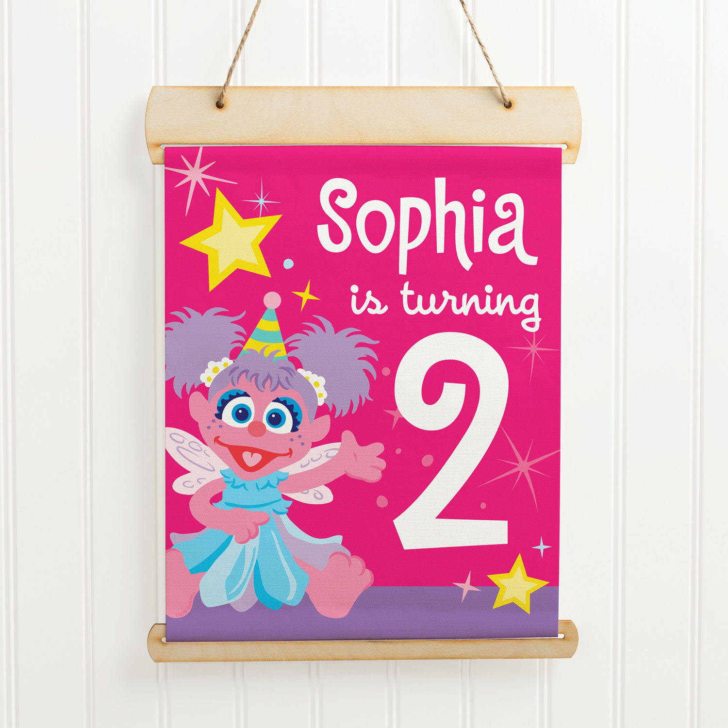 Personalized Sesame Street Abby Hanging Birthday Sign