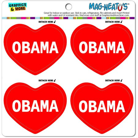 I Love Obama Automotive Car Refrigerator Locker Vinyl Magnet Heart Set