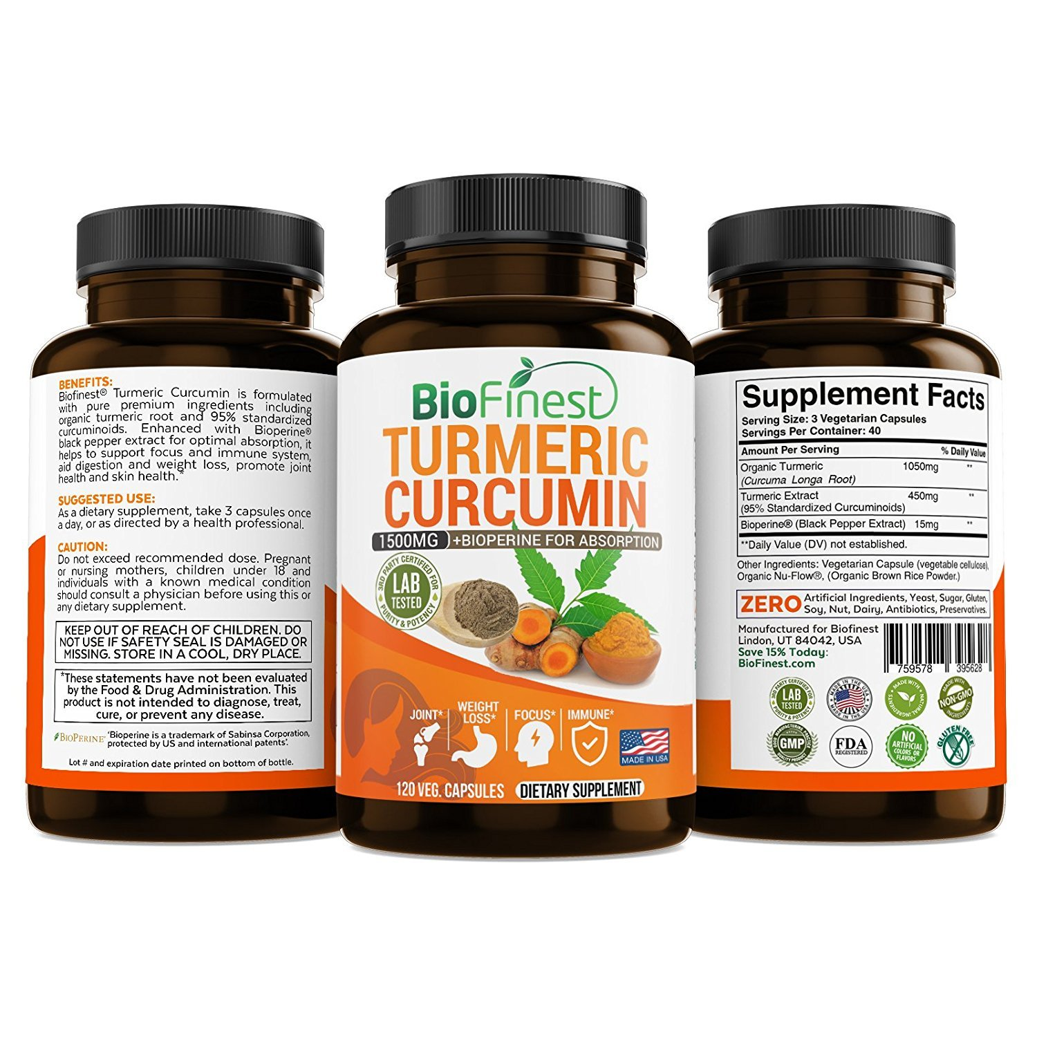 Biofinest Turmeric Curcumin - 1500mg with Bioperine Black Pepper - Made in  USA - For Weight Loss, Joints Support and Anti Aging Supplement with 95%
