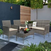 Walnew 4 PCS Outdoor Patio Furniture Gray PE Rattan Wicker Table and Chairs Set