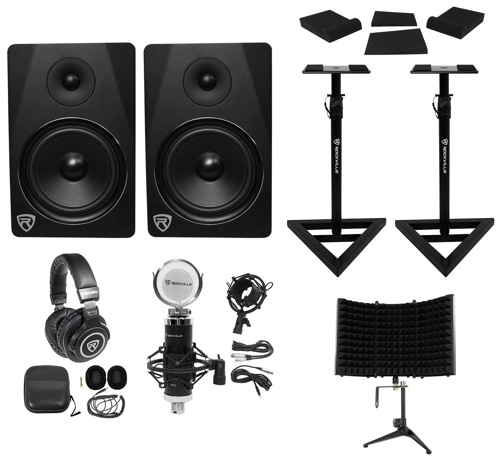 "2) Rockville DPM8B 8"" 600w Active Studio Monitors+Stands+Headphones+Mic+Shield by ROCKVILLE"