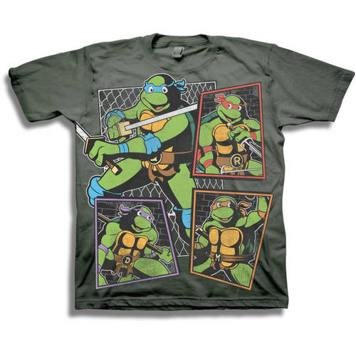 TMNT Classic Character Panels Group Shot Boys' Short Sleeve Graphic Tee T-Shirt