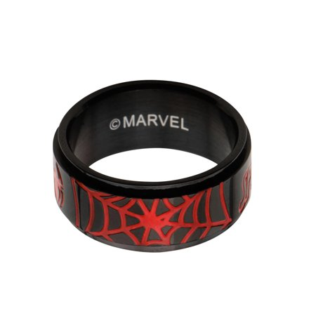 Marvel Spider-Man Web Enamel Black PVD Plated Stainless Steel Spinner Ring | 12](Spiderman Jewelry)