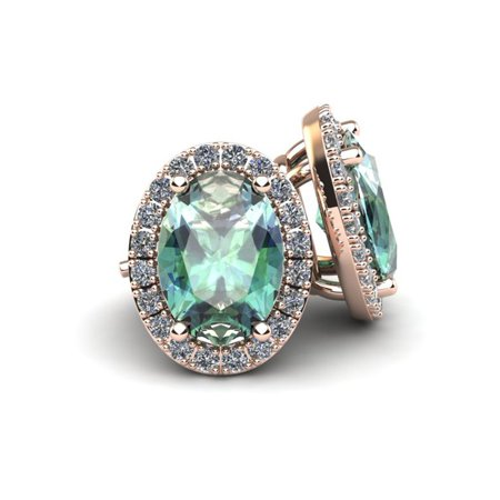 1 1/2 Carat Oval Shape Green Amethyst and Halo Diamond Stud Earrings In 10 Karat Rose Gold