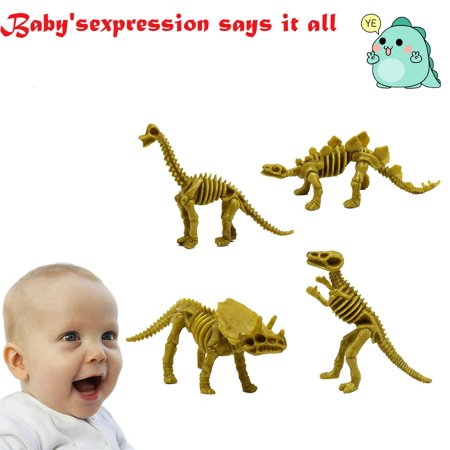4Pcs Simulation Animal Dinosaur Tyrannosaurus Stegosaurus Skeleton Toy For Kid
