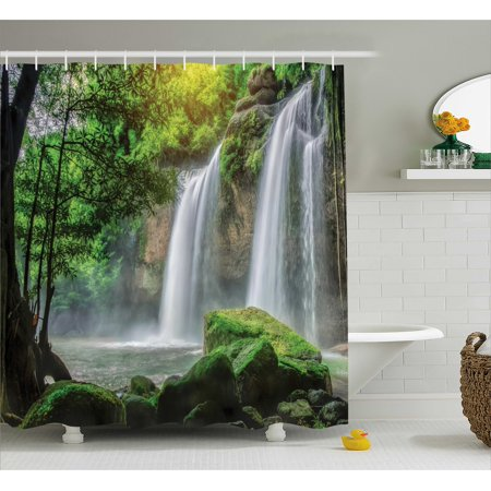 Waterfall Decor Shower Curtain, Cascade Stream in Exotic North Asian National Park Paradise Surreal Print, Fabric Bathroom Set with Hooks, 69W X 70L Inches, White Green, by Ambesonne (Waterfall Shower Curtain)