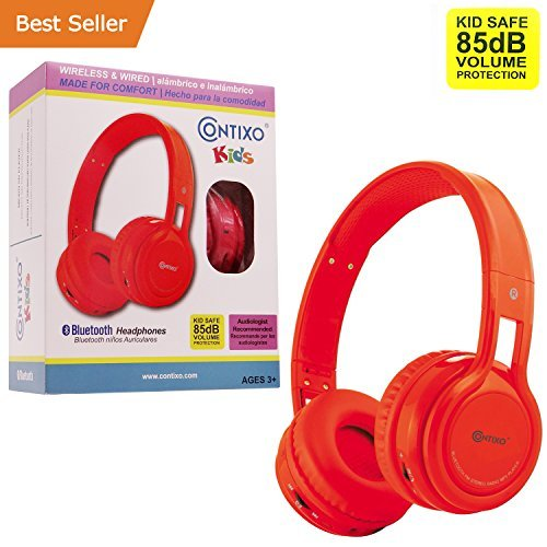 Bluetooth Headphones For Men, Contixo Red Kid-safe Bluetooth Headphones Wireless