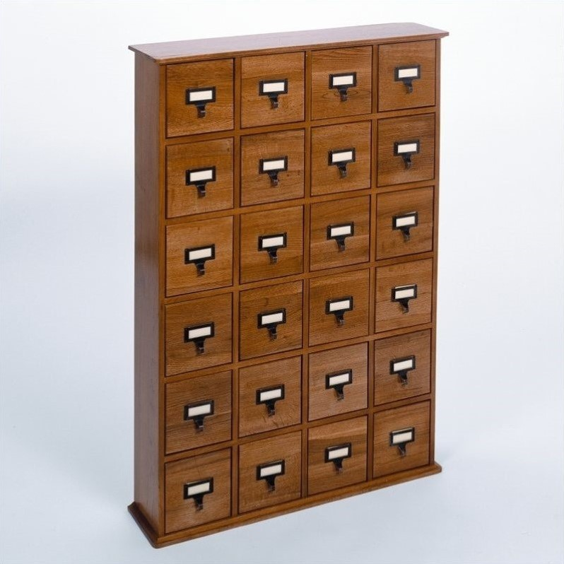 "Leslie Dame Enterprises 40"" 24-Drawer Storage Cabinet in Oak"
