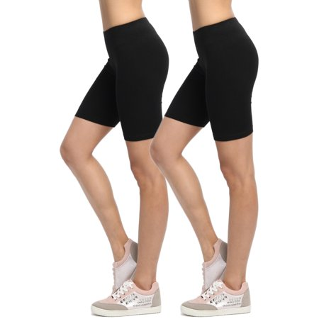 a0b9827c94 TheMogan - TheMogan Women's Mid Thigh Cotton Spandex Active Short Leggings Bike  Shorts - Walmart.com