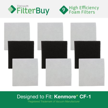 9 Sears Kenmore Cf1 Progressive Double Layer Foam Filters  Designed By Filterbuy To Replace Kenmore Part   Cf1  Cf 1  20 86883  86883  2086883  4370616  8175084  20 40321  2040321  40321